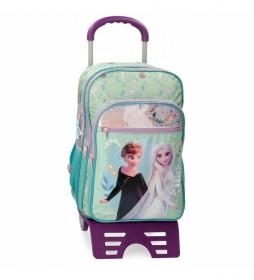 Mochila Escolar Frozen Follow Your Dreams con carro turquesa -31x42x13cm-
