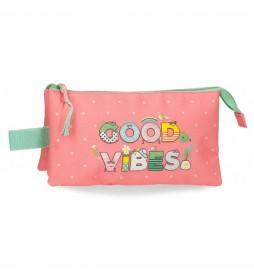 Estuche Good Vibes rosa, multicolor  -22x12x5cm-