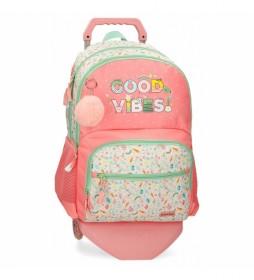 Mochila Escolar MovomGood Vibes Carro rosa -33x46x17cm-