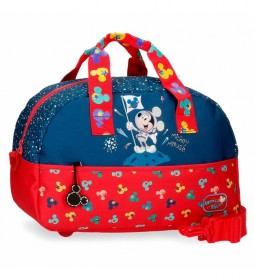 Bolsa de viaje Mickey on The Moon azul, rojo -40x24x18cm-