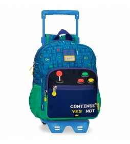 Mochila Preescolar Enso Gamer con carro azul, multicolor -23x28x10cm-