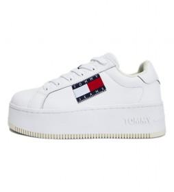 Zapatillas de piel Flatform Flag Branding blanco
