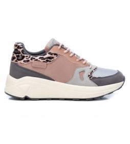 Zapatillas 076932 rosa, gris