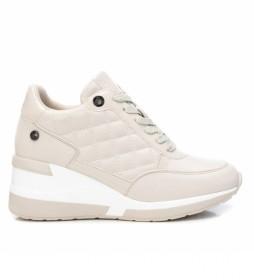 Zapatillas con cuña 043236 beige - Altura cuña 6cm -