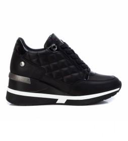 Zapatillas 043236 negro -Altura de la cuña 7cm-