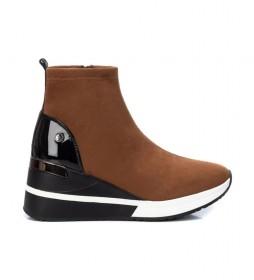 Zapatillas con cuña 043101 marrón -Altura cuña: 7cm-