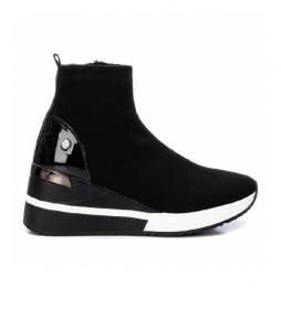 Zapatillas con cuña 043101 negro-Altura cuña: 6cm-