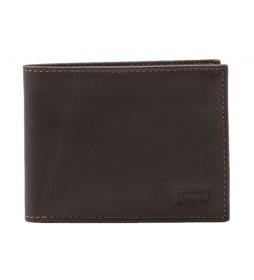 Cartera de piel Batwing marrón oscuro -11x2x8,5cm-
