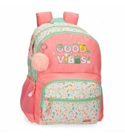 Mochila EscolarGood Vibes rosa -33x46x17cm-