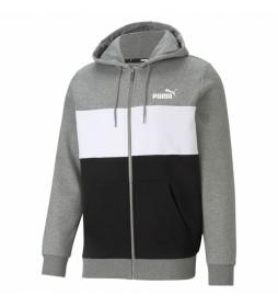 Sudadera ESS+ Colorblock FZ gris, negro, blanco