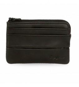 Monedero de piel Dandy negro -11  x 7  x 1,5 cm -
