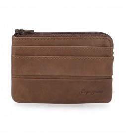 Monedero de piel  Dandy marrón -11  x 7  x 1,5 cm -