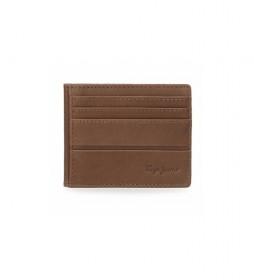 Tarjetero de piel Dandy marrón - 9,5  x 7,5 cm -