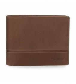 Billetero de piel  Dandy marrón -12,5x 9,5x 1 cm-