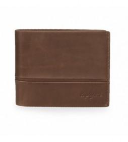 Cartera de piel Dandy  marrón - 11  x 8  x 1 cm -