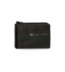 Monedero de piel  Middle negro -11  x 7  x 1,5 cm -