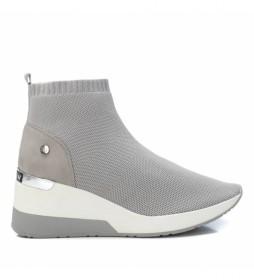 Botines deportivos 042571 gris -Altura de la cuña: 6cm-