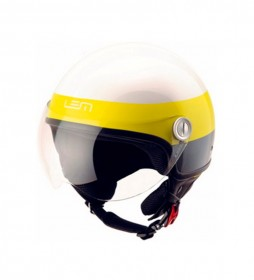 Lem Helmets Casco jet LEM Roger Cooper blanco, amarillo brillo