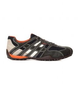 Zapatillas de piel Snake gris oscuro
