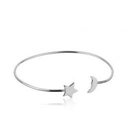Brazalete Luna y Estrella plata