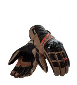 REV´IT! Guantes de piel Dominator GTX negro, marrón, rojo