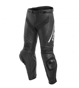 Dainese Delta 3 pantalon en cuir noir, blanc