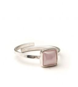 Anillo Square plata,rosa