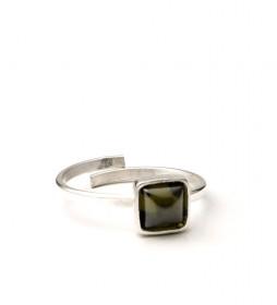 Anillo Square plata,verde