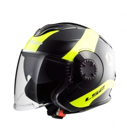 LS2 Helmets Casco Jet Verso OF570 Technik Black H-V Yellow