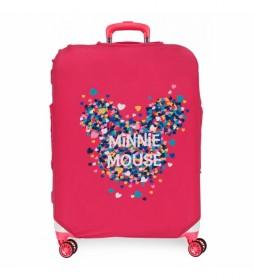 Funda para maleta mediana Minnie fucsia -48x60x26cm-