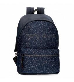 Mochila Pepe Jeans Hike para portátil adaptable azul -31x42x17.5cm-
