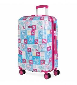 Maleta de Viaje Juvenil Infantil Niña  Estampado azul, fucsia  -67x45x24cm-