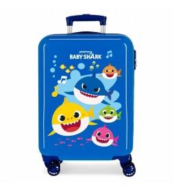 Maleta de Cabina Baby Shark Rígida Ocean Sharks azul  -38 x55x20cm-