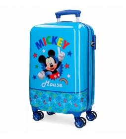 Maleta de cabina Mickey Stars rígida azul -34x55x20cm-