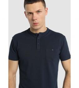 Camiseta Botones Cuello y Bolsillo Pique marino