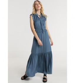 Vestido Largo Lazo Cuello azul