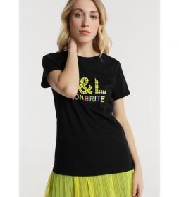Camiseta Aplicación Lentejuelas negro