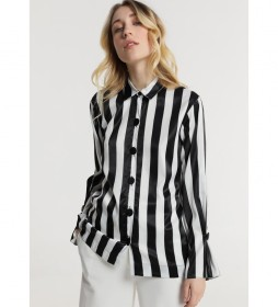 Camisa M/L Rayas negro, blanco