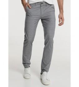 Pantalón Cintura Elástica Cuadros gris