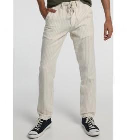 Pantalones a rayas -German-Kevyn blanco roto