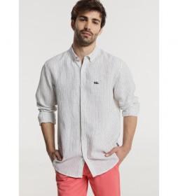 Camisa Rayas M/L blanco