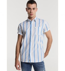 Camisa Rayas con Bolsillo azul