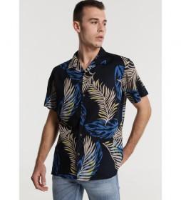 Camisa Estampado Hojas marino