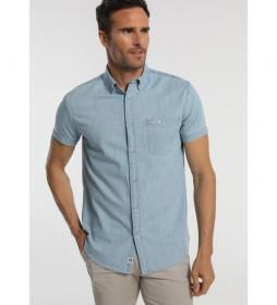 Camisa Tejana Manga Corta Bolsillo azul