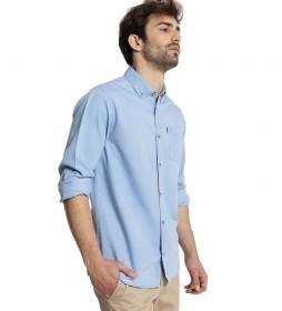 Camisa M/L Bolsillo Tencel azul