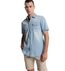 Camisa Denim Bleach azul