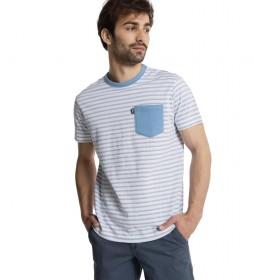 Camiseta Rayas con Bolsillo azul