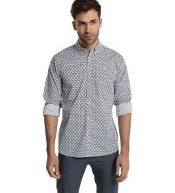 Camisa M/L Popelin Strech Mini Print negro