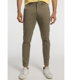 Pantalón Chino Skinny Tobillero Satén kaki