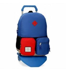 Mochila Escolar Pepe Jeans Dany con Carro Azul -32x44x15cm-